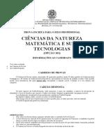 IFPE 2016 PROVA - Opção 101 - Ciências Da Natureza, Matemática e Suas Tecnologias