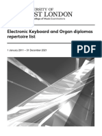 Electronic Keyboard and Organ Dips Repertoire List