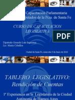 Presentacion Tablero Legislativo - Diputado Ingaramo. Santa Fe 2010