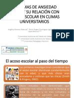 Síntomas de Ansiedad Social y Su Relación Con Acoso Escolar en Climas Universitarios