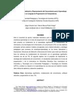 Sistemas de Modelación y Representación del Conocimiento para el Aprendizaje  de un Lenguaje de Programación de Computadores.