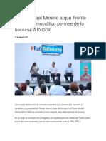 17.08.17 Llama Rafael Moreno a que Frente Amplio Democrático permee de lo nacional a lo local