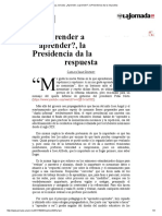 La Jornada_ ¿Aprender a Aprender_, La Presidencia Da La Respuesta