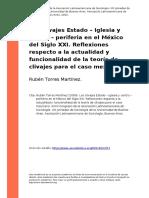 Los clivajes Estado/Iglesia y centro/periferia en el México del siglo XXI. Reflexiones respecto a la actualidad y funcionalidad de la teoría de clivajes para el caso mexicano