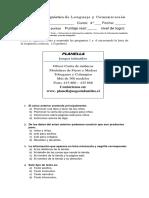 Prueba diagnostico  lenguaje 4° 2016