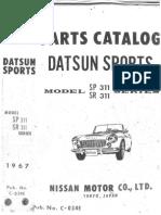 Datsun Sports Parts Catalog Model SP311 SR311 1967