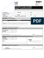 UG 01 Application to Add a Course (Adjustment)
