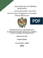 Informe de Práctica Pre-profesional ELABORACIÓN DE QUESO FRESCO