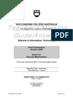 Wuct121 Discrete Mathematics Final Exam Autumn 2008 Marking Guide