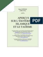 Aperçus Sur l'Ésotérisme Islamique Et Le Taoisme- René GUENON