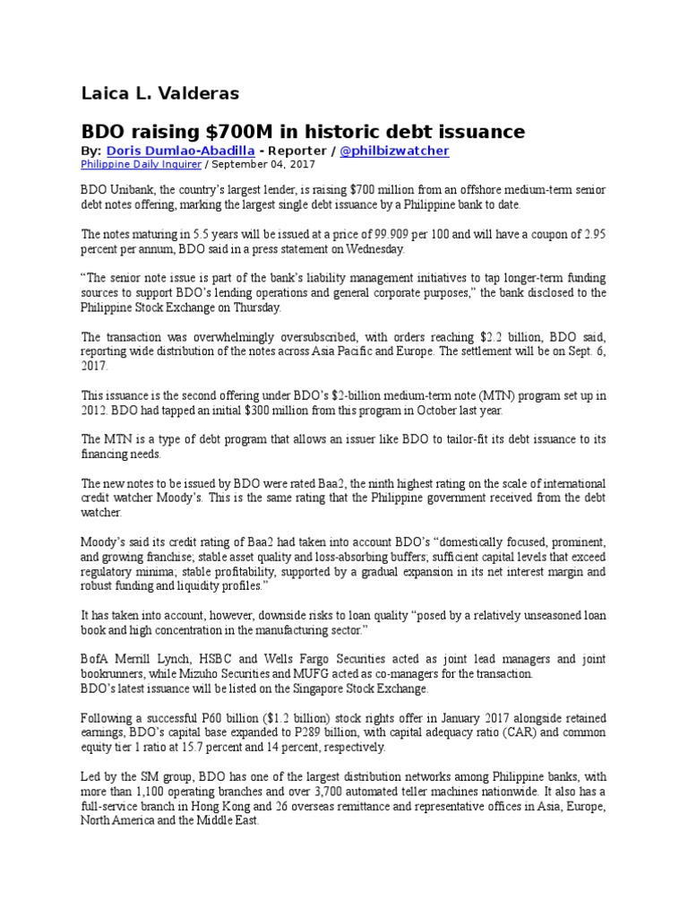 Laica L1 docx | Bdo Unibank | Securitization