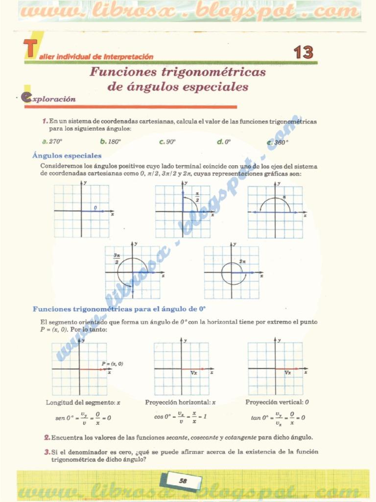 FUNCIONES TRIGONOMÉTRICAS DE ÁNGULOS ESPECIALES