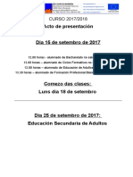 Comezo de Clases 2017/2018