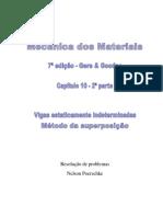 10.2 - Deflexão em vigas estaticamente indeterminadas, Método da superposição, Mecânica dos materias, Gere, 7ª edição, exercícios resolvidos.pdf