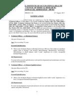 ICMR NIOH Technical Post Adv 2017