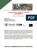 Literatura y Crisis El Teatro Documento - Curso Verano 2015