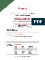 Dissertation Tutorials CAA 2017-18