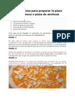 Ingredientes Para Preparar La Pizza Puttanesca o Pizza de Anchoas