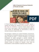 Manifesto de Repúdio à Proposta Do Governo Federal de Subsidiar Os Planos Privados de Saúde