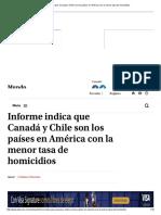 Informe Indica Que Canadá y Chile Son Los Países en América Con La Menor Tasa de Homicidios