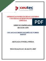 OscarRodriguez_31121727_Tarea-04_Diferncias Entre Sociedad Anonima y Sociedad de Responsabilidad Limitada