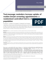 Text-message Reminders Increase Uptake of Routine Breast Screening Appointments a Randomised Controlled Trial in a Hard-To-reach Population