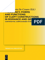 (Trends in Linguistics_ Studies and Monographs. 281) Anna-Maria de Cesare-Frequency, Forms and Functions of Cleft Constructions in Romance and Germanic-De Gruyter Mouton (2014)
