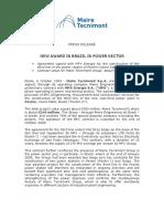 New Award in Brazil in Power Section