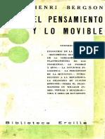 (Ensayos y Conferencias) Henri Bergson-El Pensamiento y Lo Movible-Ediciones Ercilla (1936)