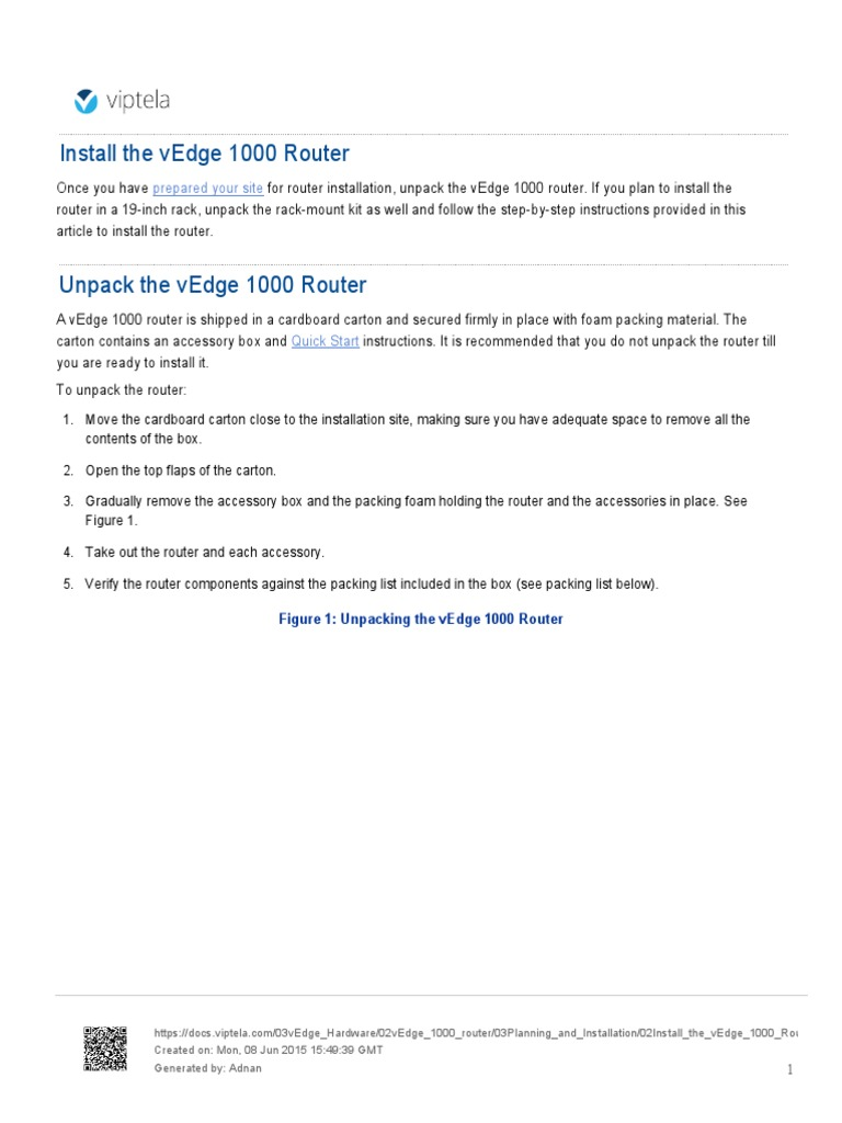 Viptela VEdge 1000 Router Installation Instructions | Tools