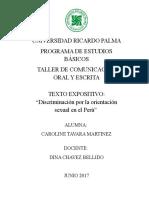 TEXTO EXPOSITIVO LA DISCRIMINACIÓN HOMOSEXUAL EN EL PERÚ