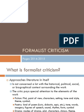 Formalist Criticism Poetry Narration