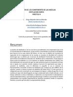 (1) Separación de Componentes de La Mezcla Destilación