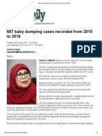 697 Baby Dumping Cases Recorded From 2010 to 2016