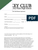 key club membership application