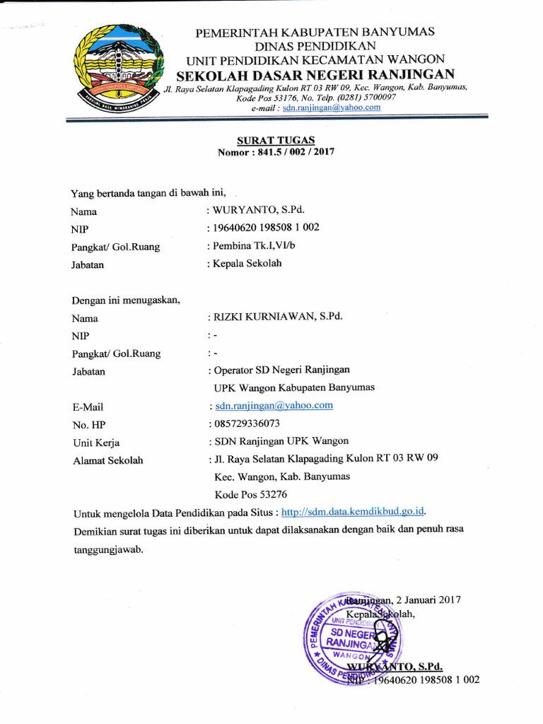 Surat Tugas Operator Sekolah