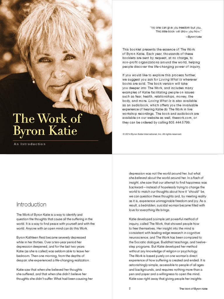 The Work Byron katie 1pdf Thought – Byron Katie the Work Worksheet