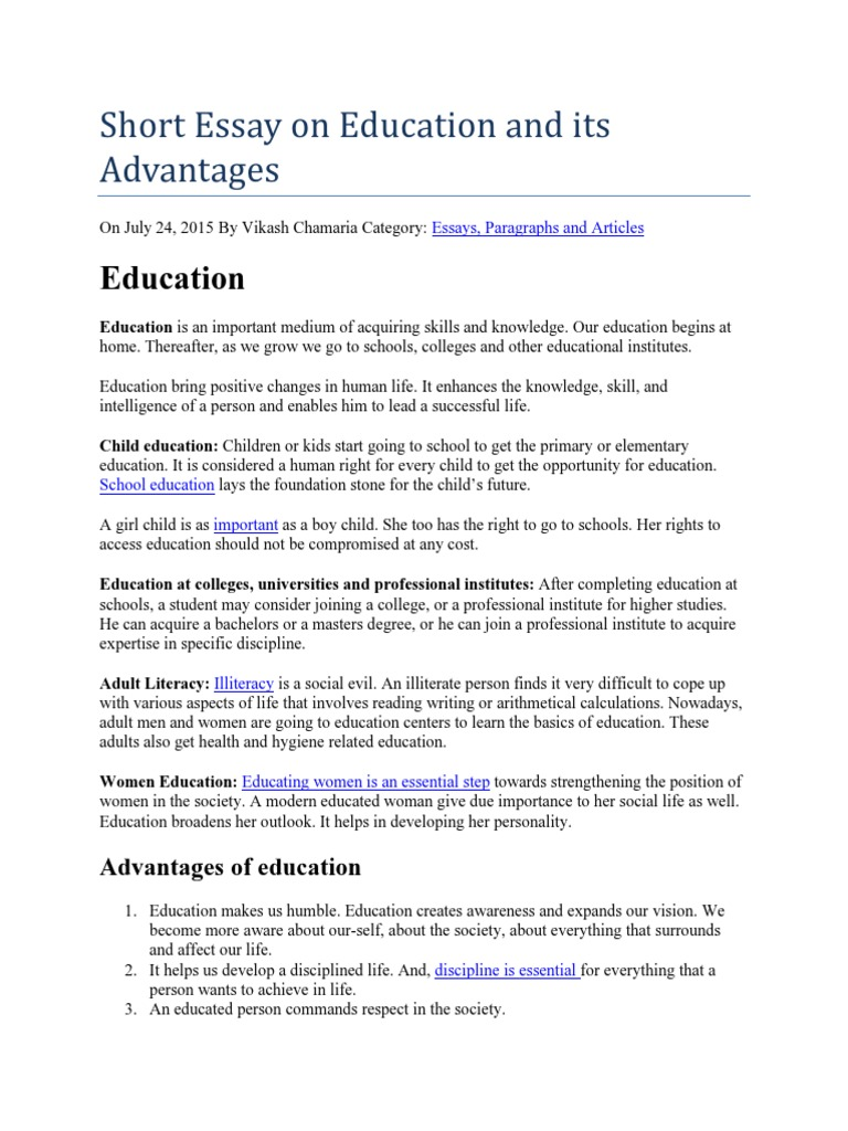 short essay on education and its advantages  alfabetizacin  short essay on education and its advantages  alfabetizacin  calidad de  vida