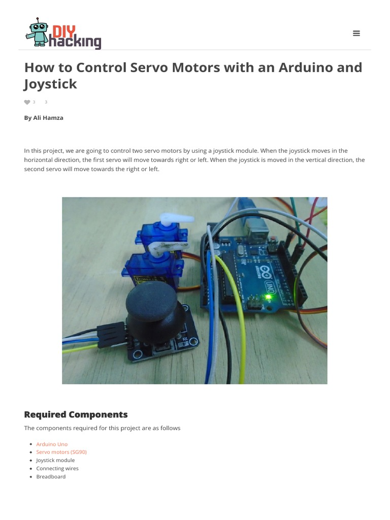 How to Control Servo Motors With an Arduino and Joystick