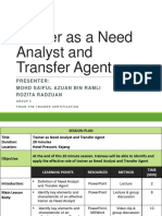 Trainer as a Need Analyst and Transfer Agent