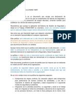 Política Preventiva Norma OHSAS 18001