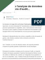 Apports de l'Analyse de Données Aux Missions d'Audit..