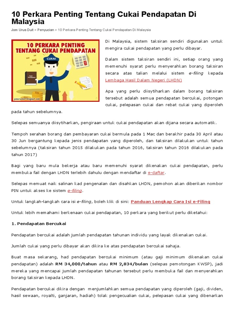 10 Perkara Penting Tentang Cukai Pendapatan Di Malaysia Jom Urus Duit