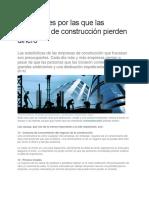 13 Razones Por Las Que Las Empresas de Construcción Pierden Dinero