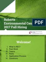 Roberts Environmental Center 2017 Fall Hiring