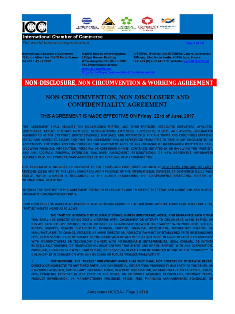 Non Disclosure Non Circumvention Working Agreement