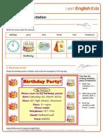 Writing Practice Birthday Party Invitation Worksheet