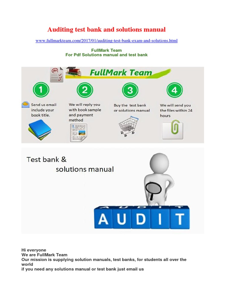Auditing Test Bank and Solutions Manual | Auditor's Report | Financial Audit