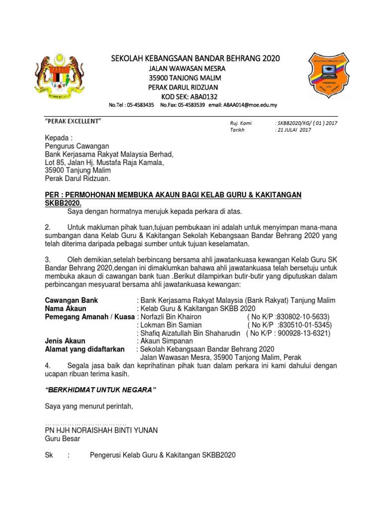 Surat Buka Akaun Bank Kelab Guru Bank Rakyat