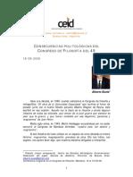 Alberto Buela Consecuencias Politologicas Del Congreso de Filosofica Del 49